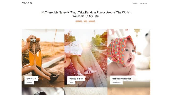 Aperture is a template built for photo and gallery websites.