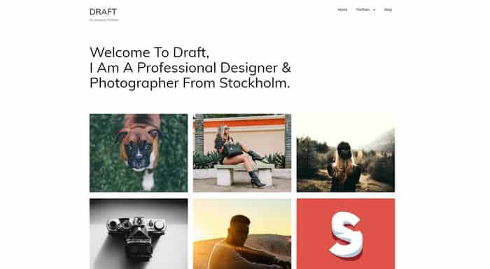 Draft Portfolio is a free WordPress portfolio theme for designers and agency websites.