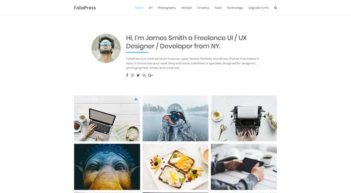 FolioPress is a popular free WordPress portfolio theme from Theme Horse.