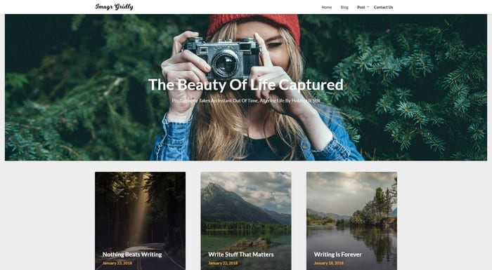 Image Gridly is a free WordPress theme with photos portfolios, and blog websites.