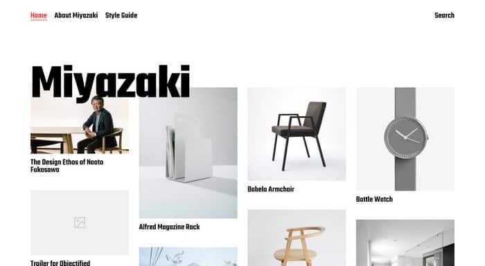Miyazaki is a free WordPress portfolio theme by Anders Norén.