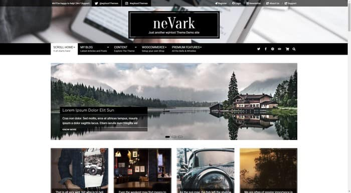 Nevark is a free elegant WordPress portfolio theme from wpHoot.