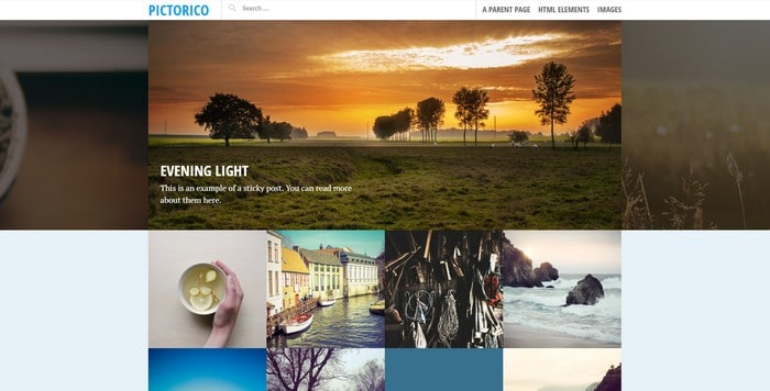 Pictorico is a free WordPress theme from Automattic.