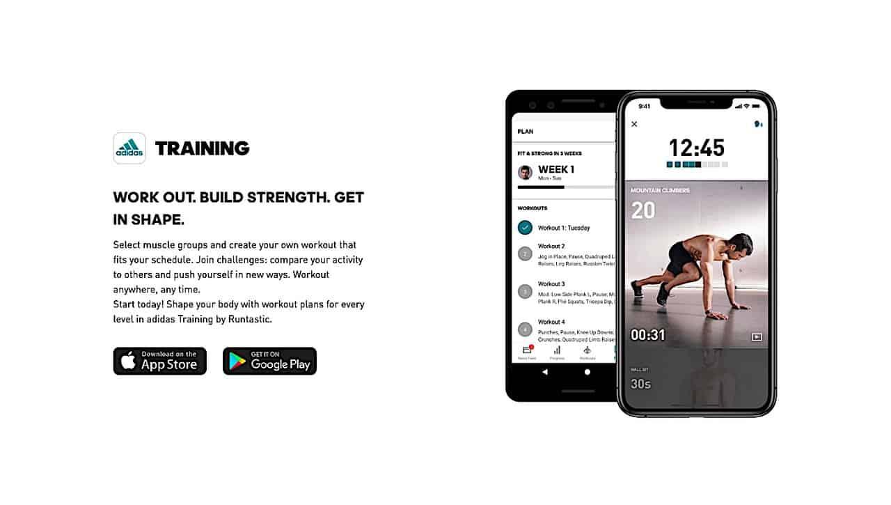 Runtastic training app by Adidas